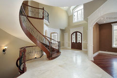 Foyer and staircase in luxury home Stock Photo