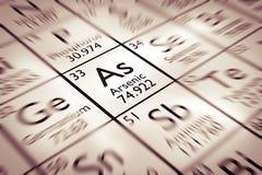 Foyer sur l'élément chimique arsenical Images libres de droits