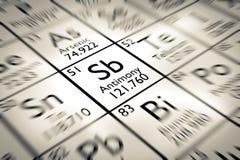 Foyer sur l'élément chimique d'antimoine Photo libre de droits