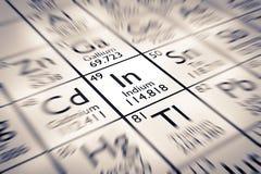 Foyer sur l'élément chimique d'indium Photographie stock libre de droits
