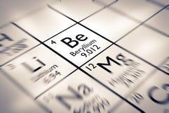 Foyer sur l'élément chimique de béryllium Photographie stock libre de droits