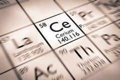 Foyer sur l'élément chimique de cérium Photos stock