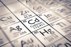 Foyer sur l'élément chimique de cadmium Photographie stock