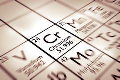 Foyer sur l'élément chimique de chrome images libres de droits