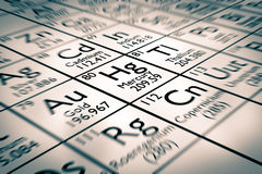 Foyer sur l'élément chimique de mercure Photographie stock
