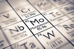 Foyer sur l'élément chimique de molybdène Image stock