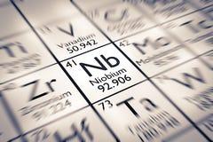 Foyer sur l'élément chimique de niobium Photos stock