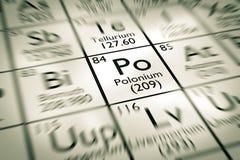 Foyer sur l'élément chimique de polonium Images libres de droits