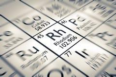 Foyer sur l'élément chimique de rhodium illustration stock