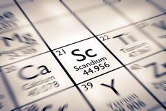Foyer sur l'élément chimique de scandium Photos stock