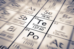 Foyer sur l'élément chimique de tellurium Photos stock
