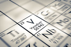 Foyer sur l'élément chimique de vanadium Photos stock