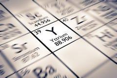 Foyer sur l'élément chimique de yttrium Photos stock