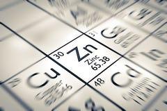 Foyer sur l'élément chimique de zinc Image stock