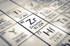Foyer sur l'élément chimique de zirconium Image stock
