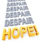 Foyer sur l'espoir au-dessus du désespoir illustration libre de droits