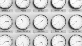 Foyer sur l'horloge temps montrant Abidjan, Côte d'Ivoire animation 3D illustration stock