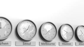 Foyer sur l'horloge temps montrant Melbourne, Australie Animation 3D conceptuelle clips vidéos