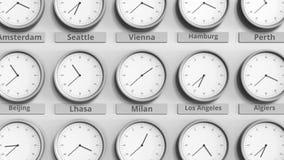 Foyer sur l'horloge temps montrant Milan, Italie animation 3D clips vidéos