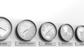 Foyer sur l'horloge temps montrant Milan, Italie Animation 3D conceptuelle banque de vidéos
