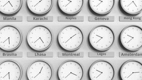 Foyer sur l'horloge temps montrant Montréal, Canada animation 3D banque de vidéos