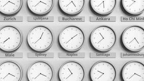 Foyer sur l'horloge temps montrant Naples, Italie animation 3D clips vidéos