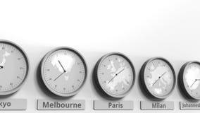 Foyer sur l'horloge temps montrant Paris, France Animation 3D conceptuelle clips vidéos