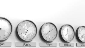 Foyer sur l'horloge temps montrant Taïpeh, Taïwan Animation 3D conceptuelle banque de vidéos
