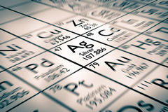 Foyer sur les éléments chimiques argentés image stock