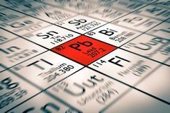 Foyer sur les éléments chimiques de mauvaise avance Images libres de droits