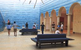Foyer von Blanton-Kunstmuseum am Eingang zur Universität von Texas bei Austin stockfotografie