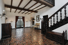 Foyer with wood beams. Foyer in traditional home with wood beams Royalty Free Stock Photos