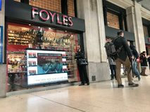 Foyles store. W&G Foyle Ltd. usually called simply Foyles is a bookseller with a chain of several stores in England.In 2018 it was bought by Waterstones royalty free stock image
