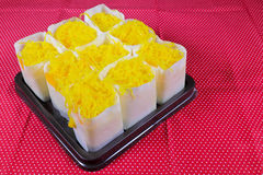 Foythong cake on red table cloth Royalty Free Stock Photo