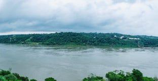 Parana river that borders between Brazil and Paraguay. Foz do Iguacu, Brazil - January 06, 2018: Parana river that borders between Brazil and Paraguay. Photo Royalty Free Stock Photos