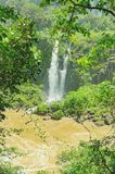 Small waterfall from Cataratas do Iguacu on the city of Foz do I. Foz do Iguacu, Brazil - January 07, 2018: Small waterfall from Cataratas do Iguacu. Brazilian Stock Image
