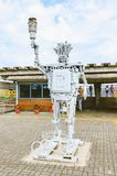 Steel robot made of many reused pieces on the reception of touri. Foz do Iguacu, Brazil - January 08, 2018: Steel robot made of many reused pieces on the Stock Images
