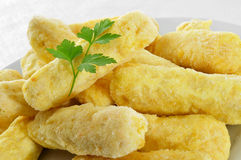 Fozen fish sticks. Closeup of a plate with some frozen fish sticks ready to be cooked Stock Image