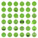 Fps 10 смешного смешного зеленого вектора Smileys установленные иллюстрация штока