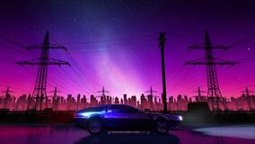 60 fps 80s retro drive seamless loop. Stylized rural landscape. Outrun VJ style