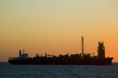 FPSO Oil rig silhouete stock photo