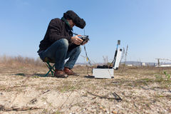 Fpv flying a remote controlled vehicle. Outdoor stock images
