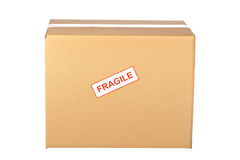 Frágil en la caja de cartón Foto de archivo