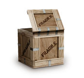 Frágil marcado da caixa de madeira da carga fotografia de stock royalty free