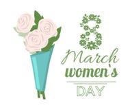 Frühling festlich am 8. März Blumenstrauß des Rosen-Vektors lizenzfreie abbildung