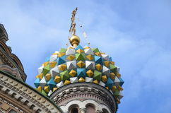 Frälsare på den spillda blodkyrkan Färgrika kupoler Royaltyfria Bilder