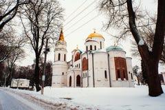 Frälsareomgestaltningdomkyrkan av den Chernihiv och Borys och Hlib domkyrkan i Chernihiv, Ukraina Arkivbilder