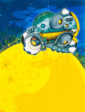 Främlingämnet - ufo - stjärna - dagis - meny - skärm - utrymme för lyckligt och roligt lynne för text - - illustration för chilen Arkivbild