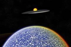 främling över ufo-världen royaltyfri illustrationer