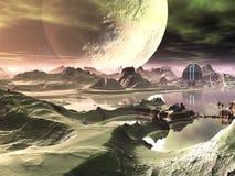främling ett annat futuristic planet för konstruktion royaltyfri illustrationer